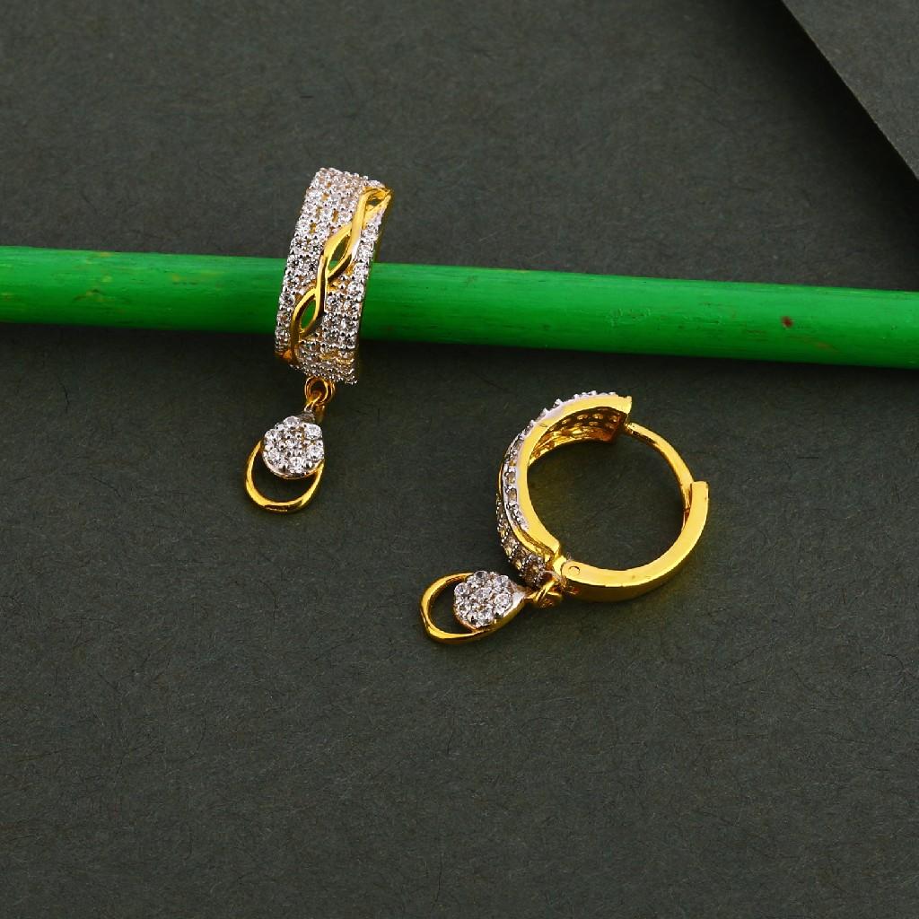 750 Gold Cz Gorgeous Women's Earring Bali LFB115
