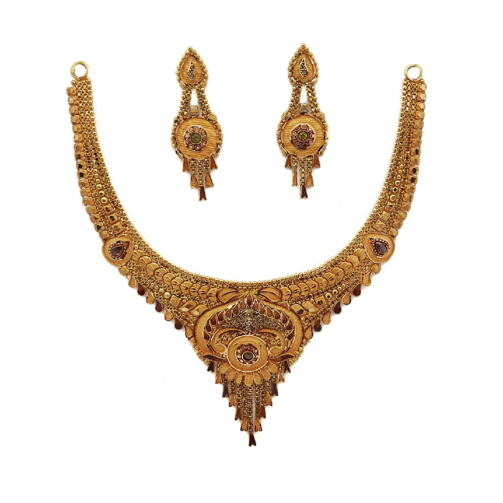 22K Gold Culcutti Necklace with Earrings NSG0067