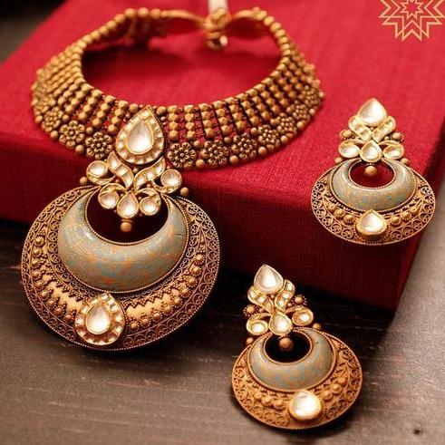 haar Kundan Chokar Set 916 Bridal Set Rajputi Gold new gold Jewelry