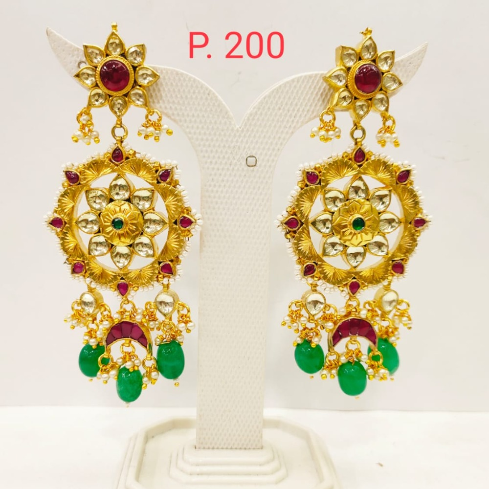Flower Design Gold plated ruby stone earring with hanging green pearl 1710