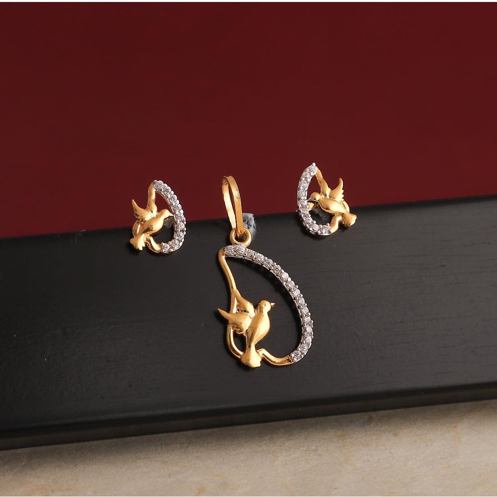 916 gold cz  pendant set