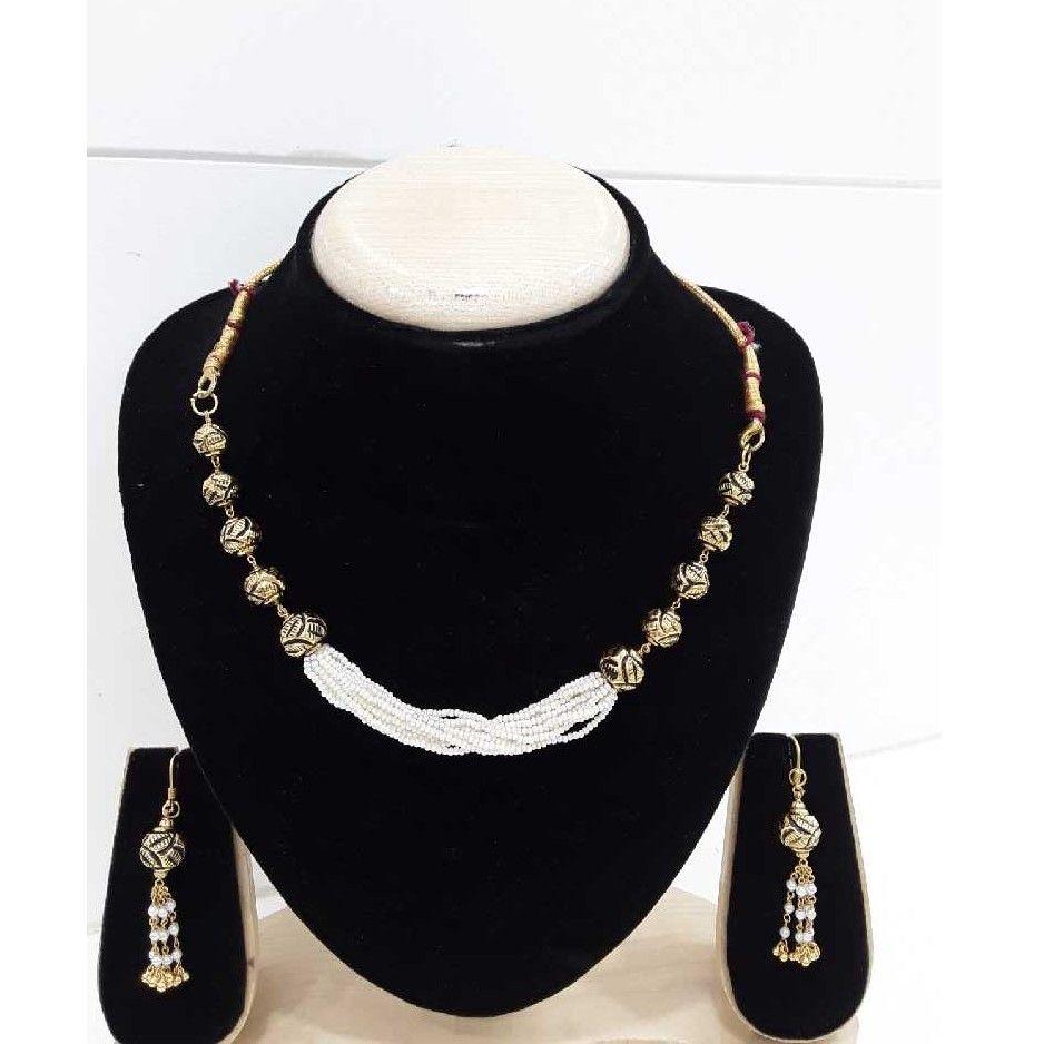 916 Antique Gold Para Moti Line Set