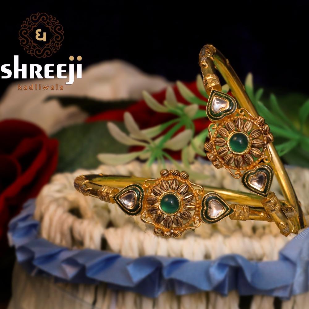 22Kt Gold Antique Jadtar Copper Kadli - 0022