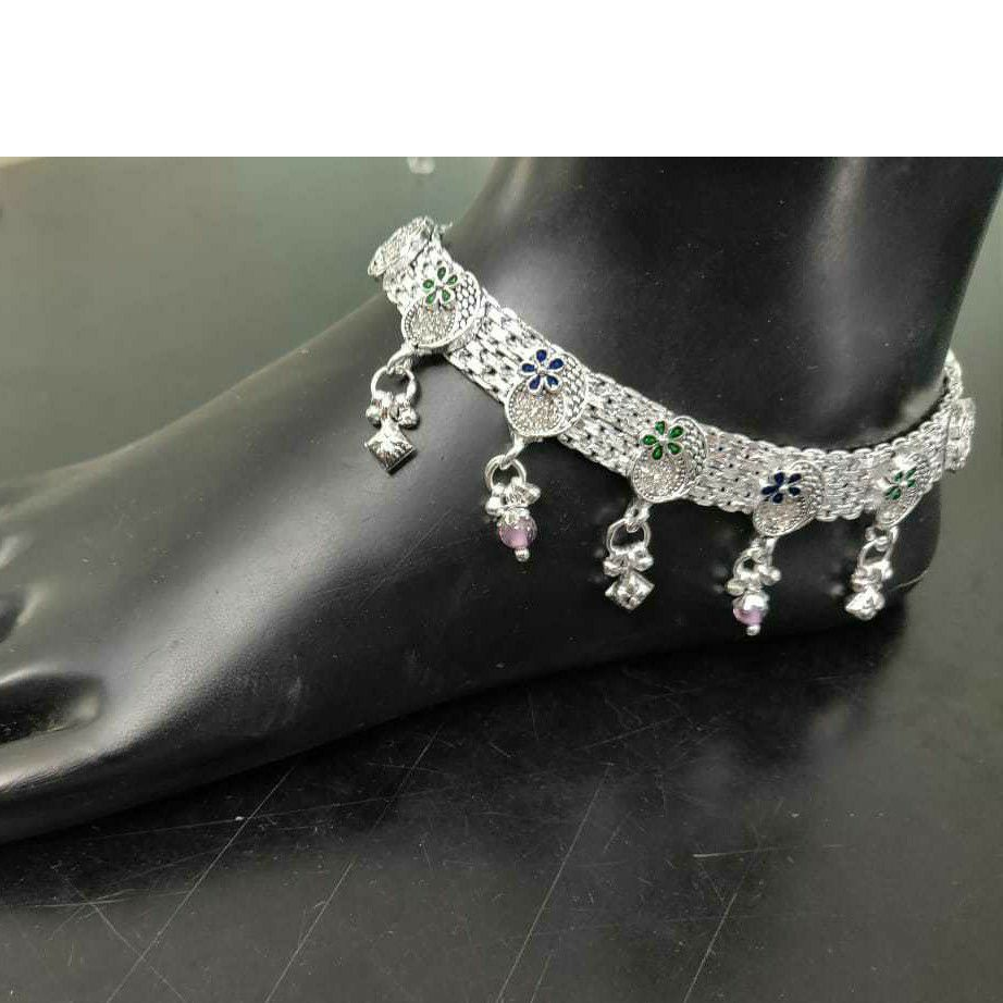 92.5 Sterling Silver Micro Casting Rajkoti Payal(Anklet) Ms-3815