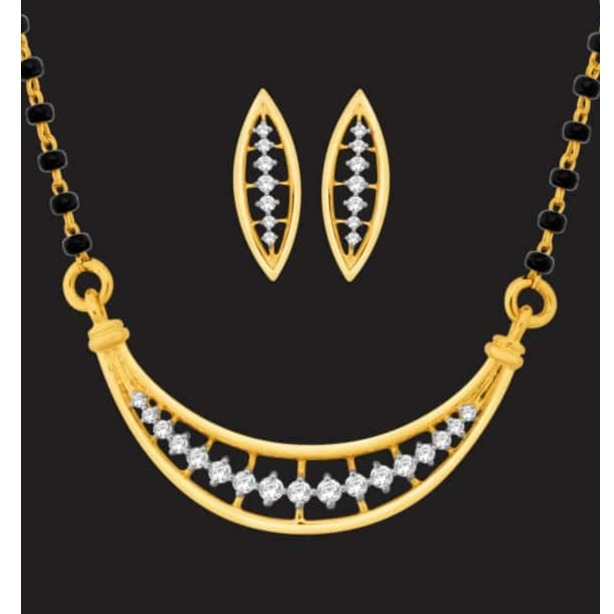 916 Gold Diamond Mangalsutra With Earring JJ-M12