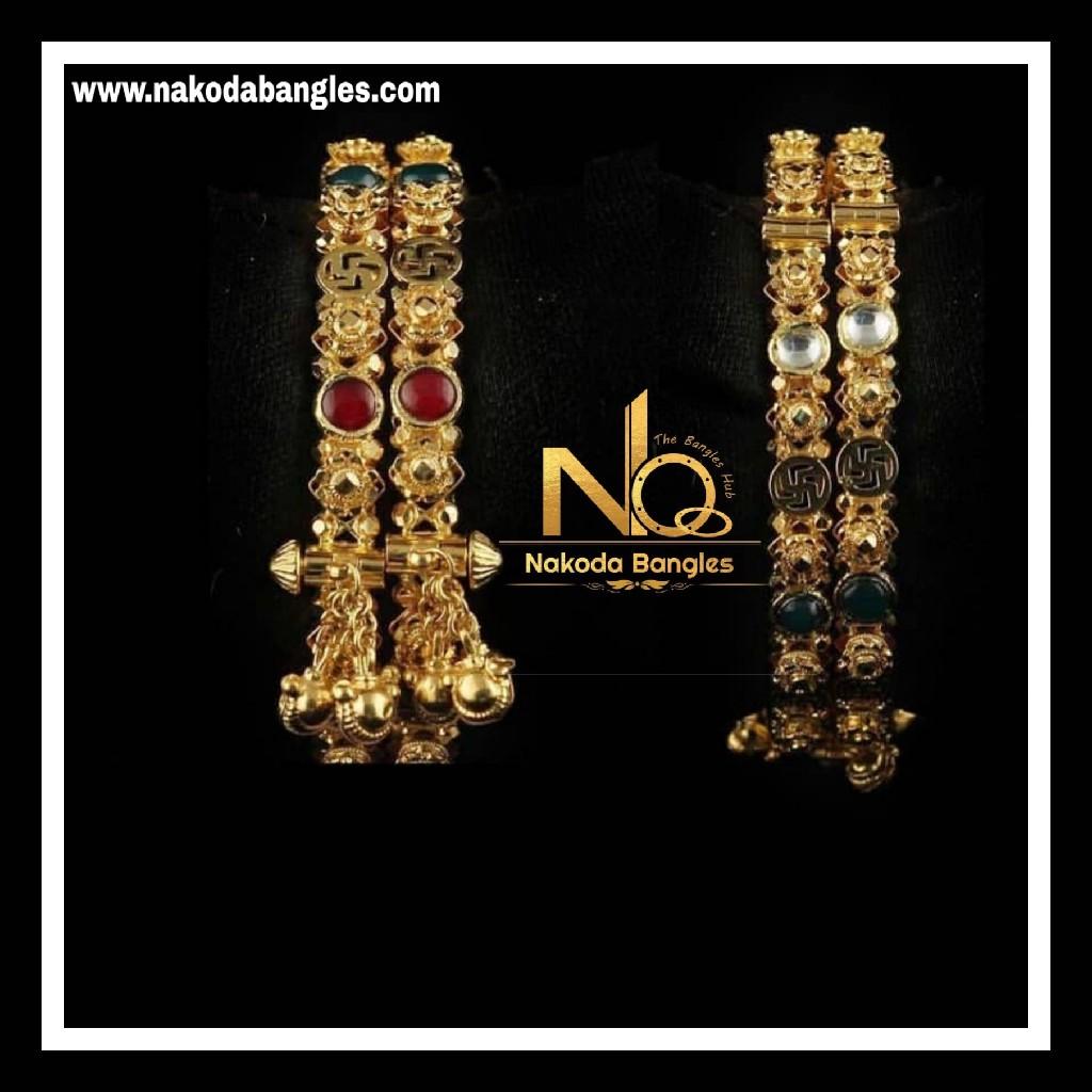916 Gold Antique Bangles NB - 739