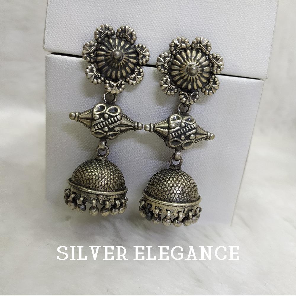 Silver oxidized jummar latkan earring se-e003