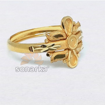 916 Plain Gold Ring Hollow Single Pipe Design for Ladies