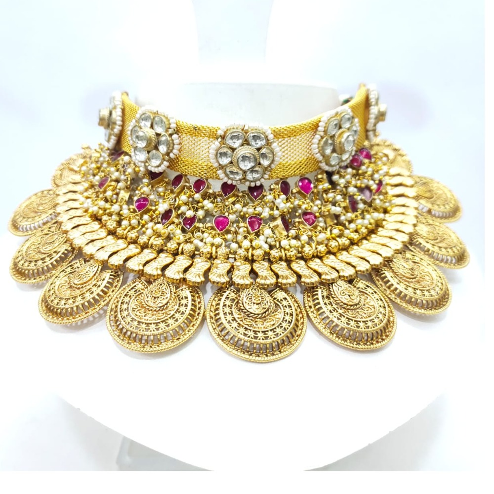 Antique Gold polish Bridal Choker set with pink stone 1637