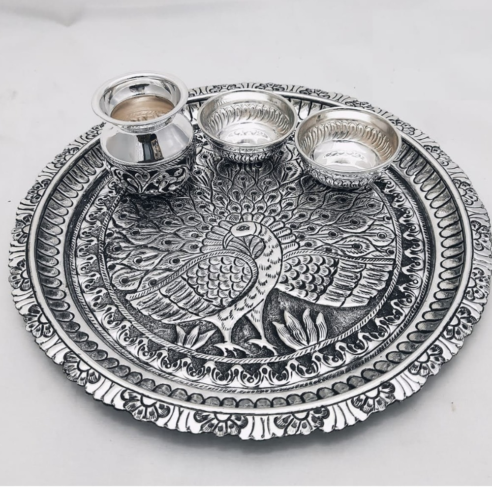 925 Pure Silver Antique Pooja Thali Set PO-263-16