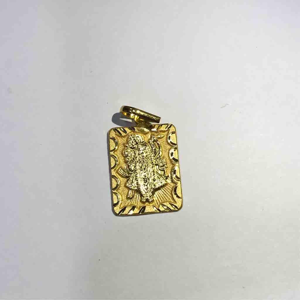 18ct plain gold shreenathji Pendant