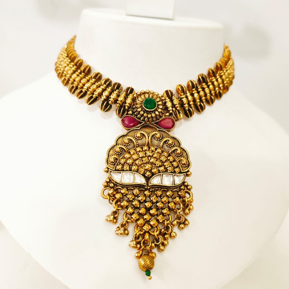 Gold plated with choker emerald and ruby stone necklace set 1450
