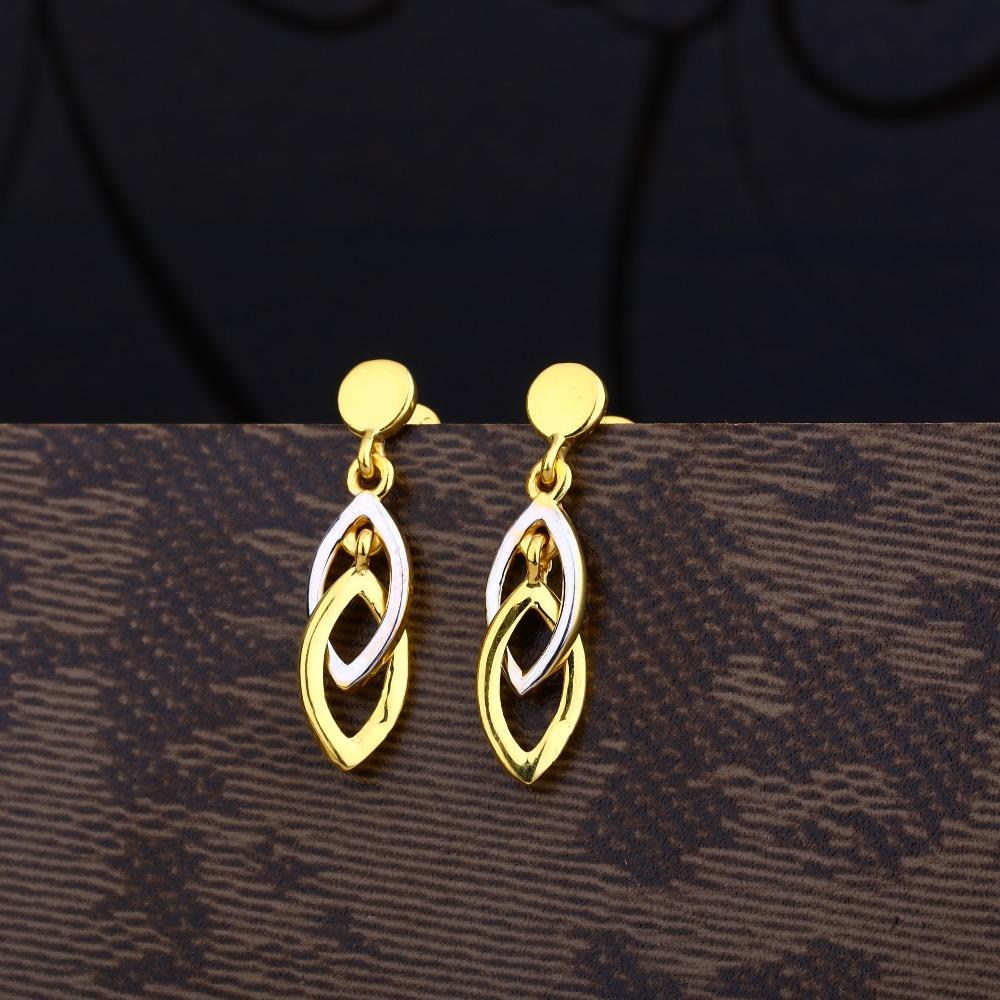 Ladies 916 Gold Casting Plain Cz Earring -LPE96