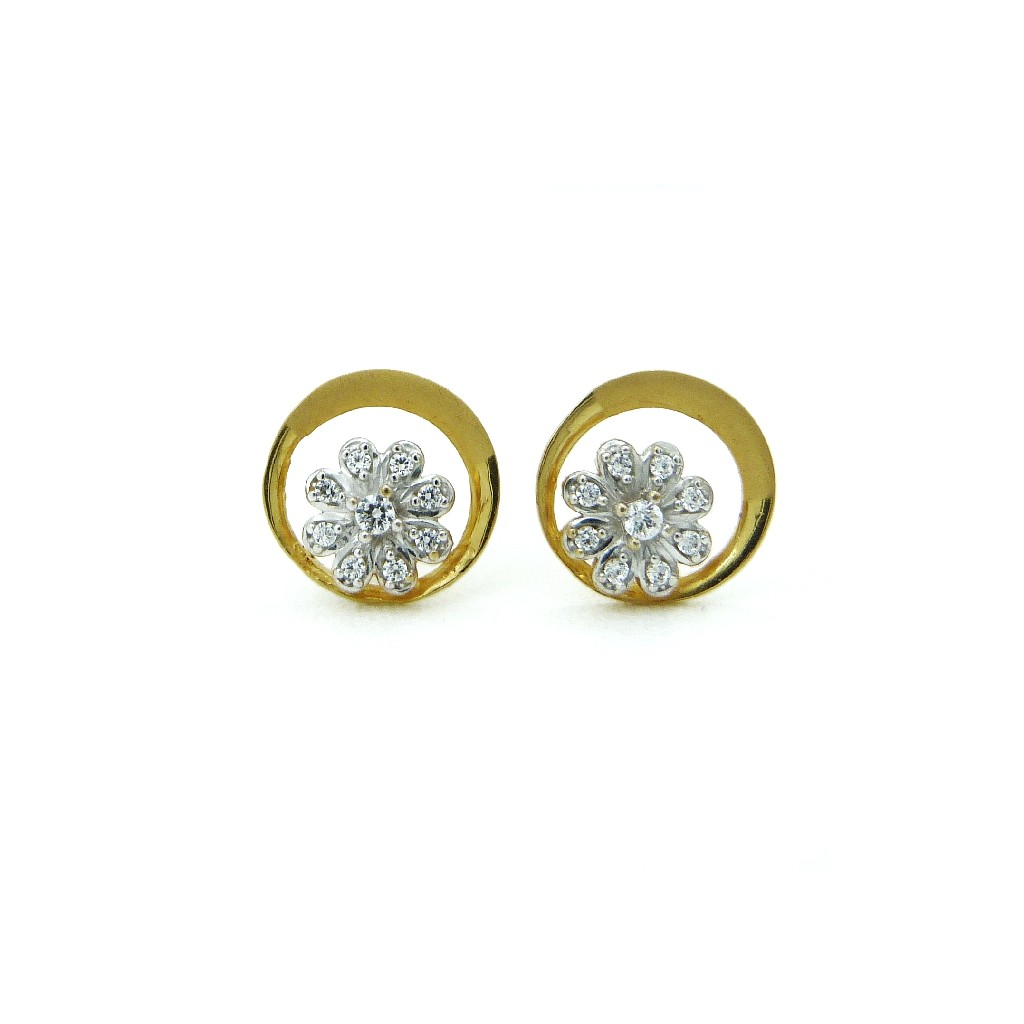 22K Gold Rounded CZ Flower Tops