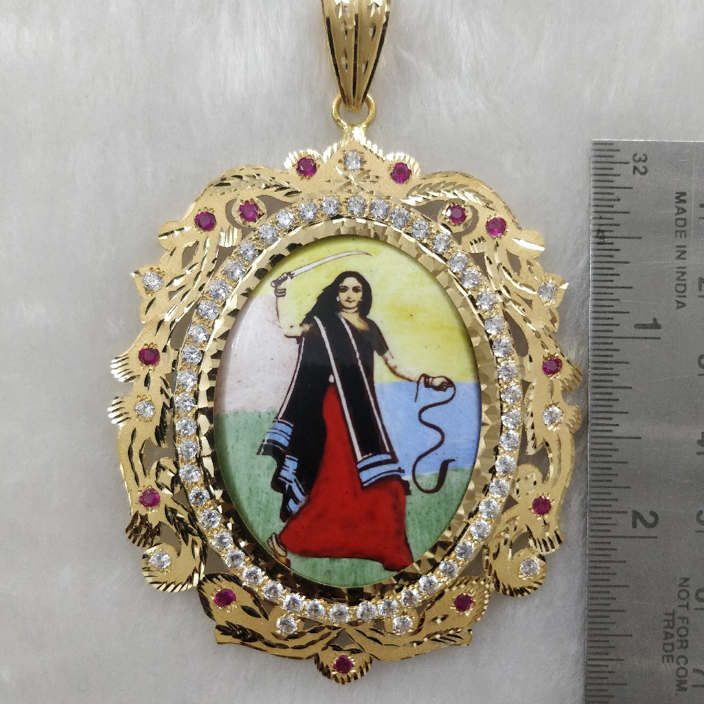 916 Gold Gent's Fancy Mogal Maa Photo Frame Pendants