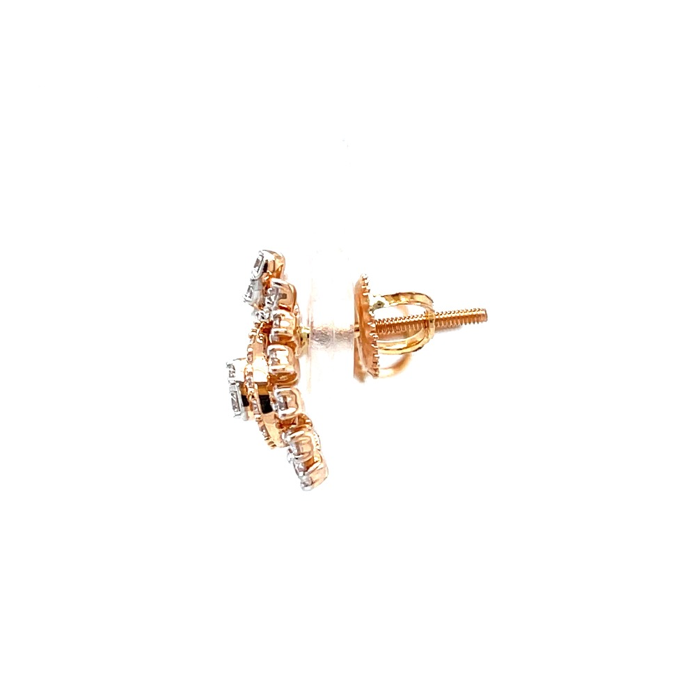 Heart with three prong setting in rose gold diamond stud