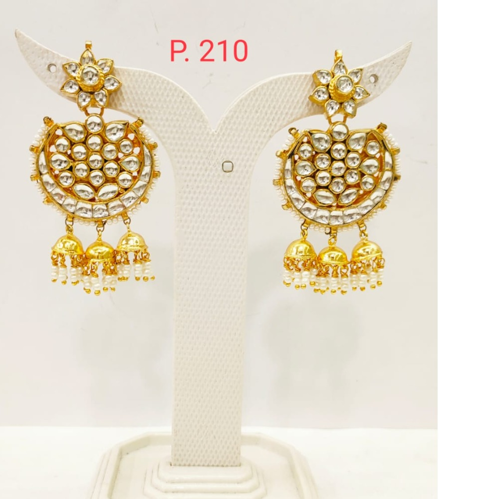Flower Design Gold Plated kundan work earring with Hanging Jhumka 1709