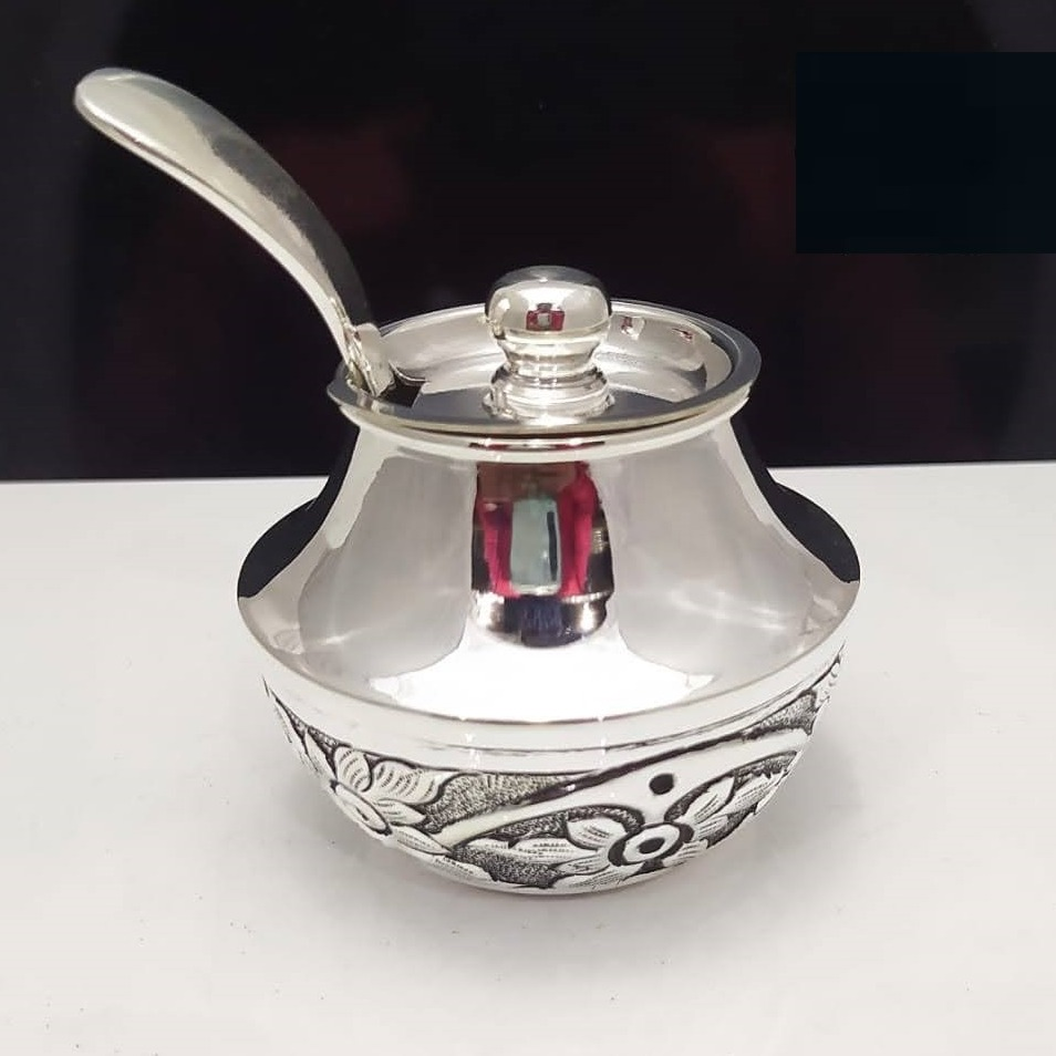 925 pure silver stylish ghee dani with spoon and lid pO-244-04