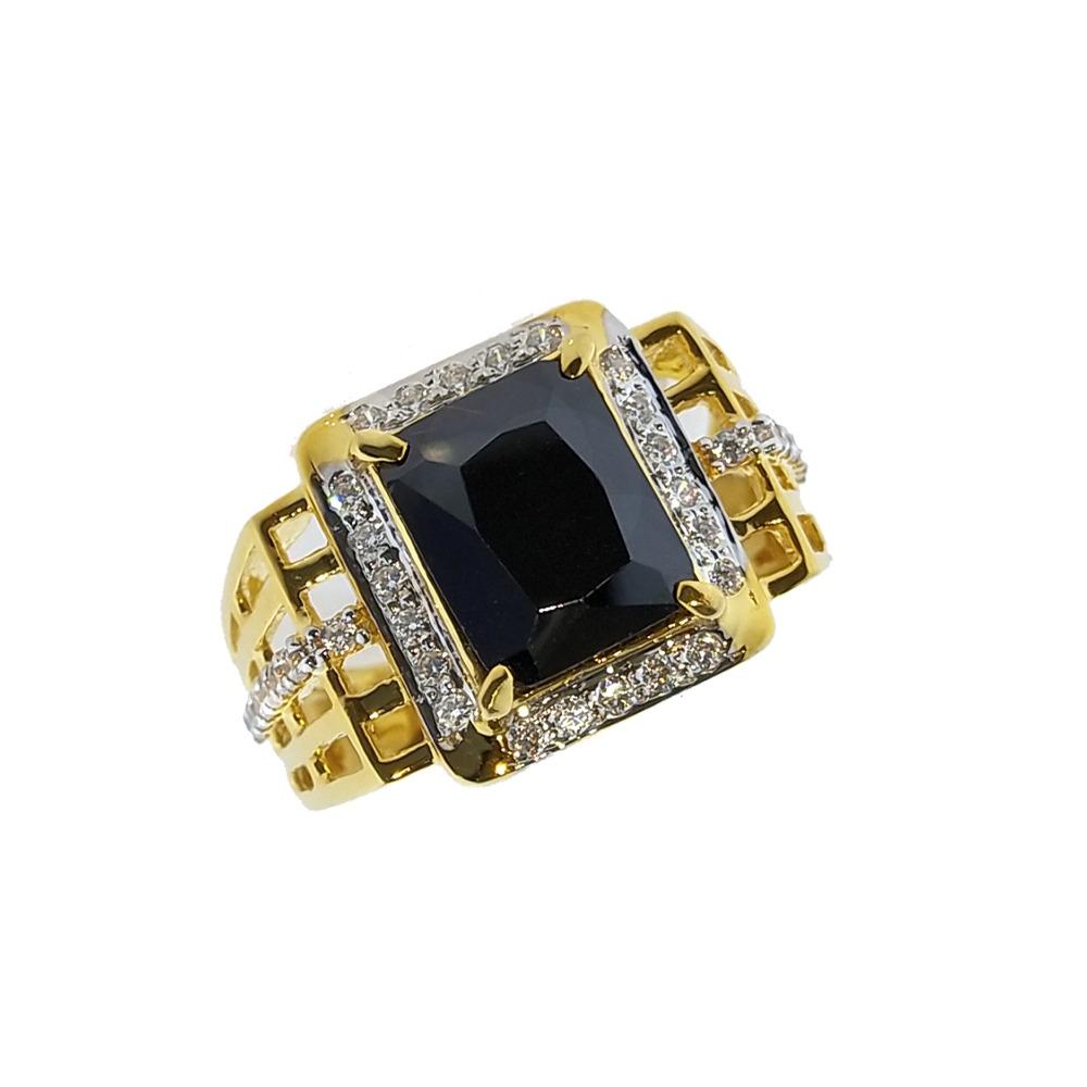916 Gold CZ Black Stone Ring For Men SO-R001