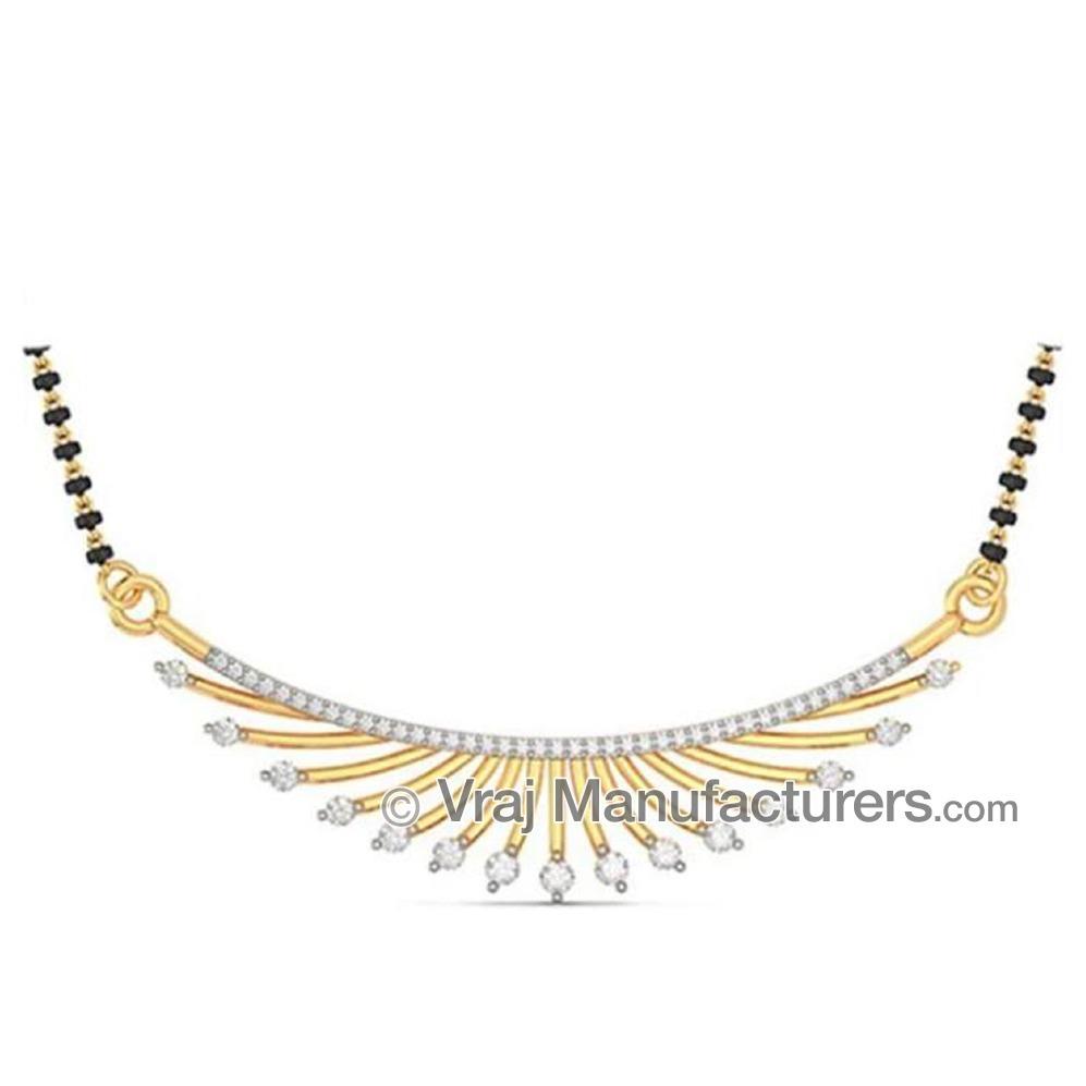 18K Yellow Gold Casting Mangalsutra Pendant with Diamond