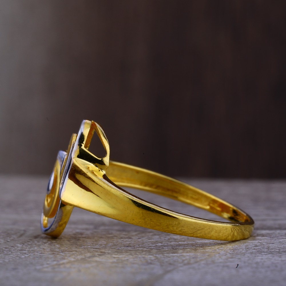 Ladies 22K Gold Fancy Rodium Ring -LPR103