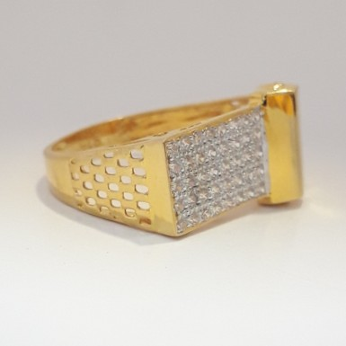 916 cz gold fancy gents ring