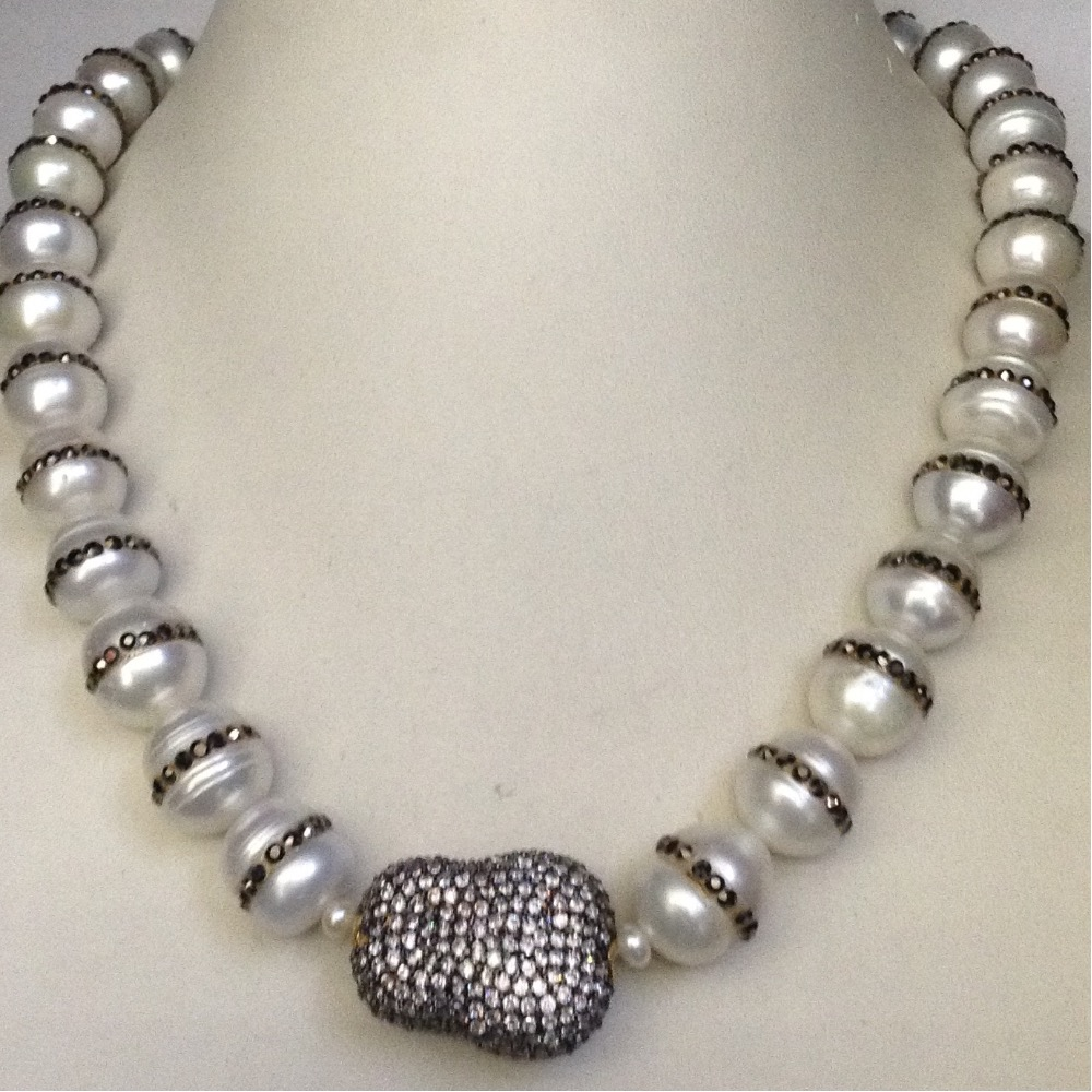 Freshwater white round jagmag pearls with cz ball necklace
