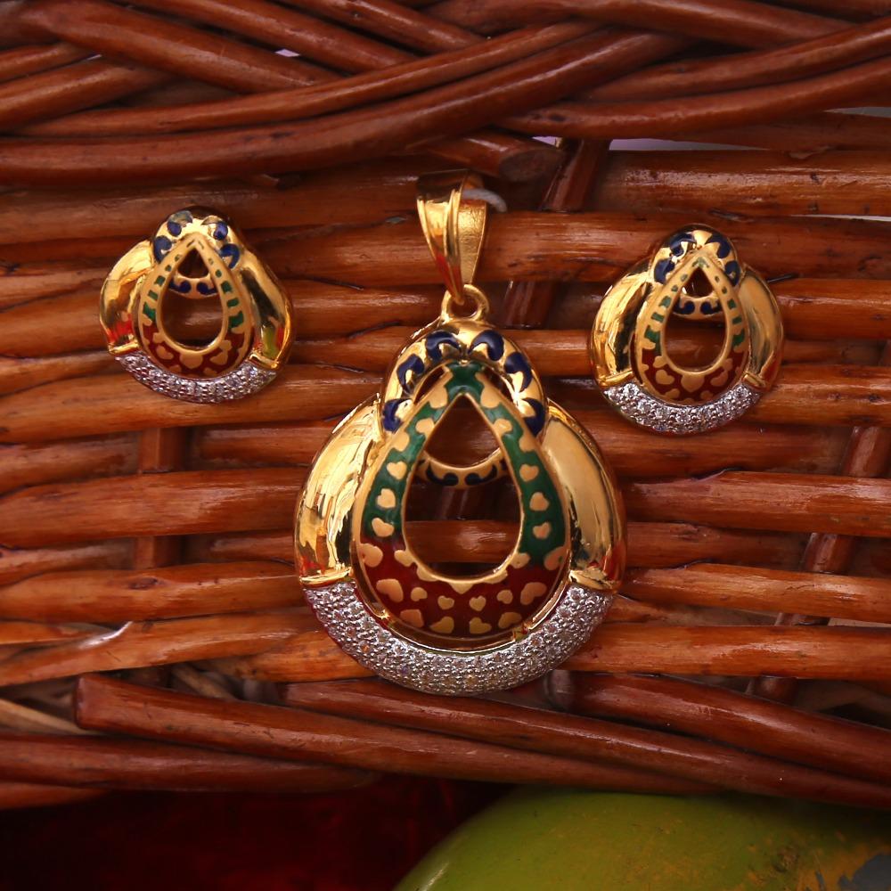 916 gold cz daimond pendant set