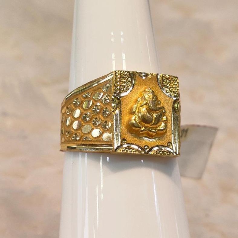 22KT Gold Ganpati Design Ring For Men