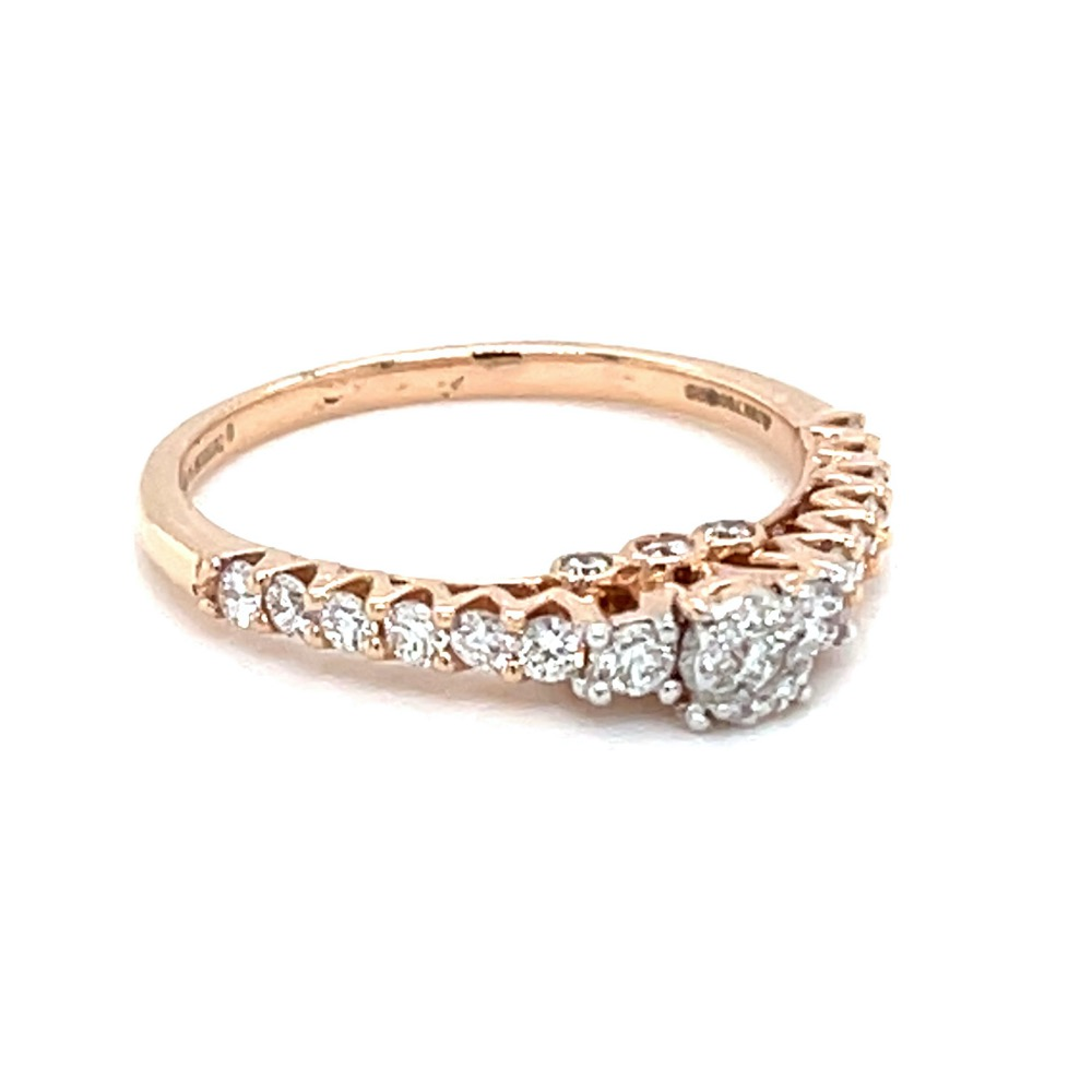Shared Prong Single Line Band Ring in 18k Rose Gold - 0LR155