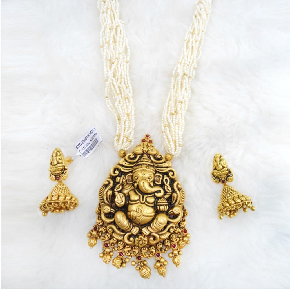 Antique Gold N Jadtar Set: Buy Quality Gold Antique Jadtar Necklace Set RHJ 5253 In