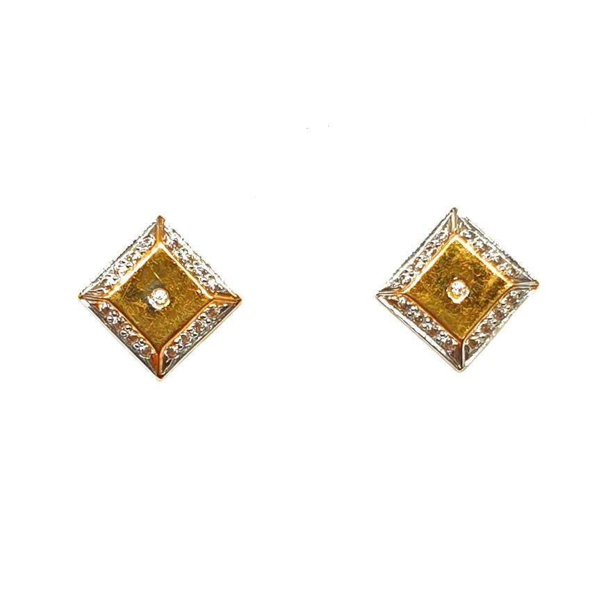 22K Gold Square Shaped Fancy Earrings MGA - BTG0197