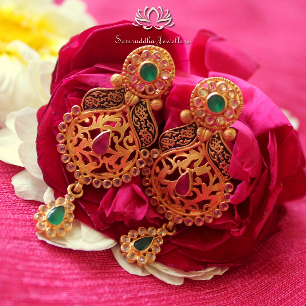 916 Gold Fancy Wedding Earring SJ - E003