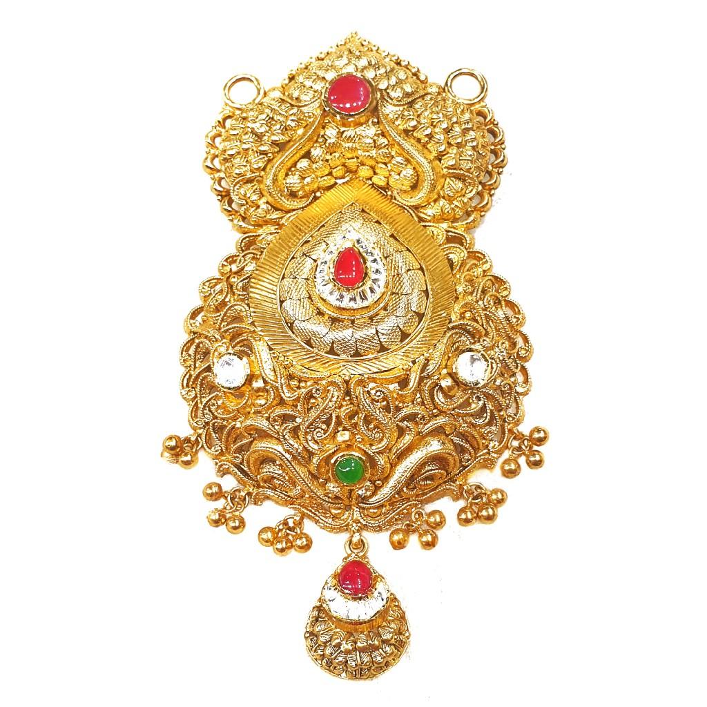 22k Goldb Rajputana Style Antique Oxidised Mangalsutra Pendant MGA - MGP015