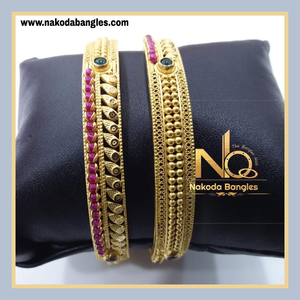916 Gold Chakri Bangles NB - 856