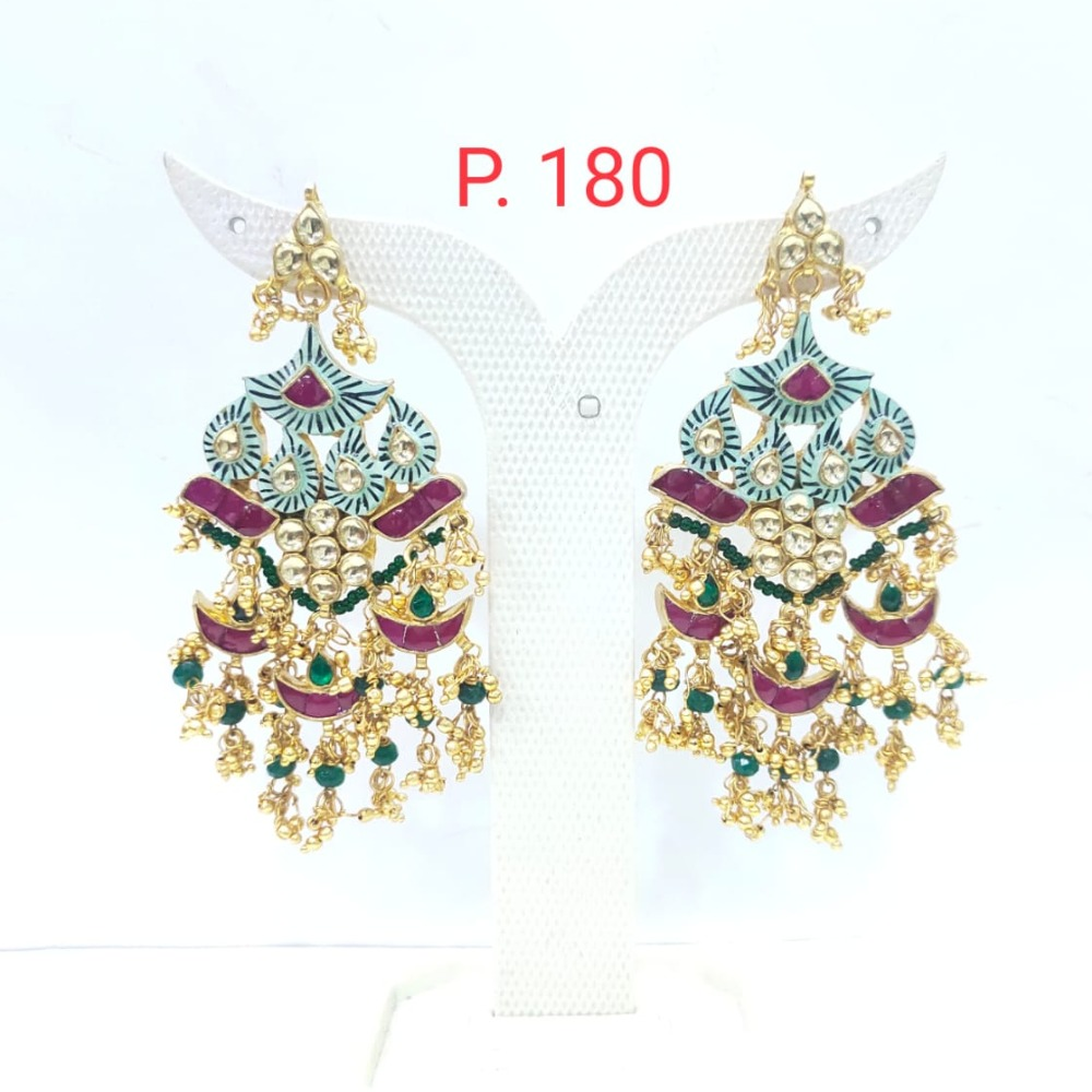 Kuiri shape kundan with hanging pearl long earring 1624