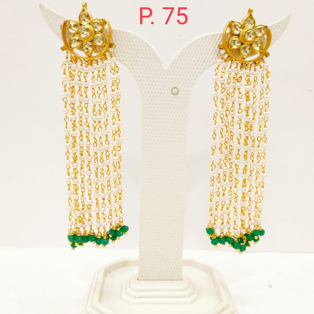 Traditional kundan Design long Earring With Hanging Moti 1712