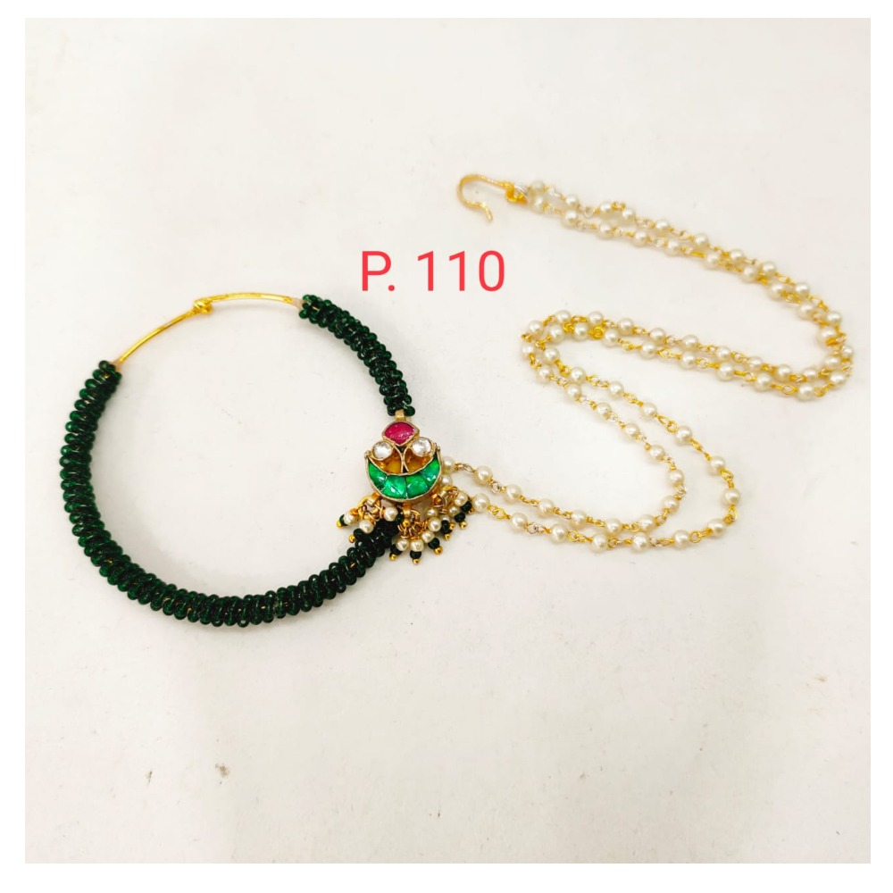 Green Gold plated stone & Pearl Nose ring with 2 layer chain 1733