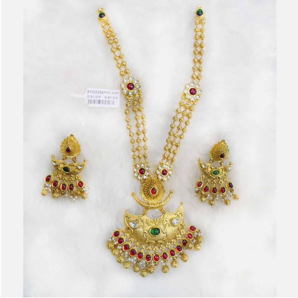 22KT Gold Designer Bridal Long Necklace Set RHJ-6027