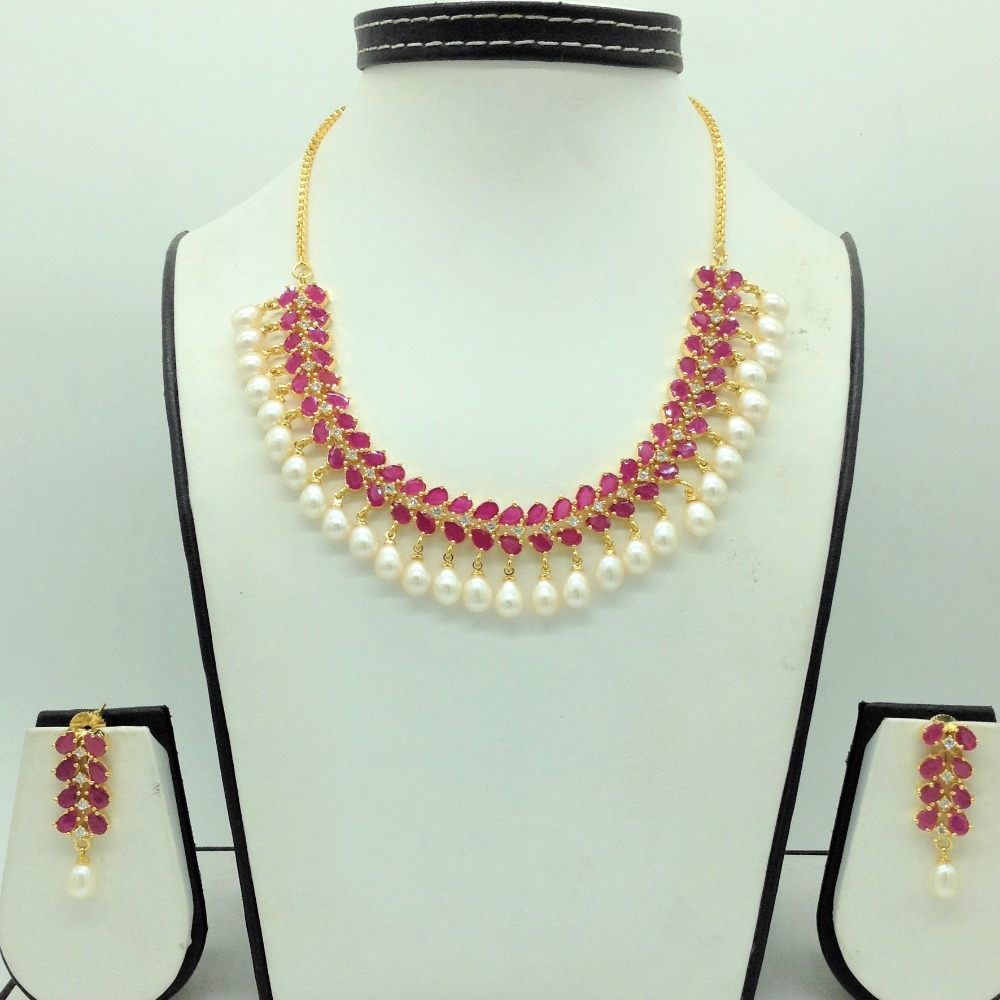 White ,RedCZ Stones And Tear Drop Pearls Necklace Set JNC0152