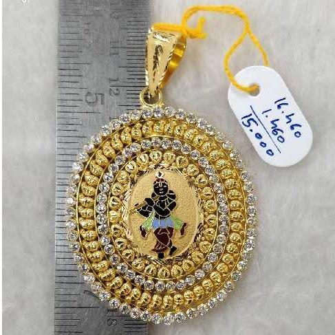 916 gold krishna round gents pendant