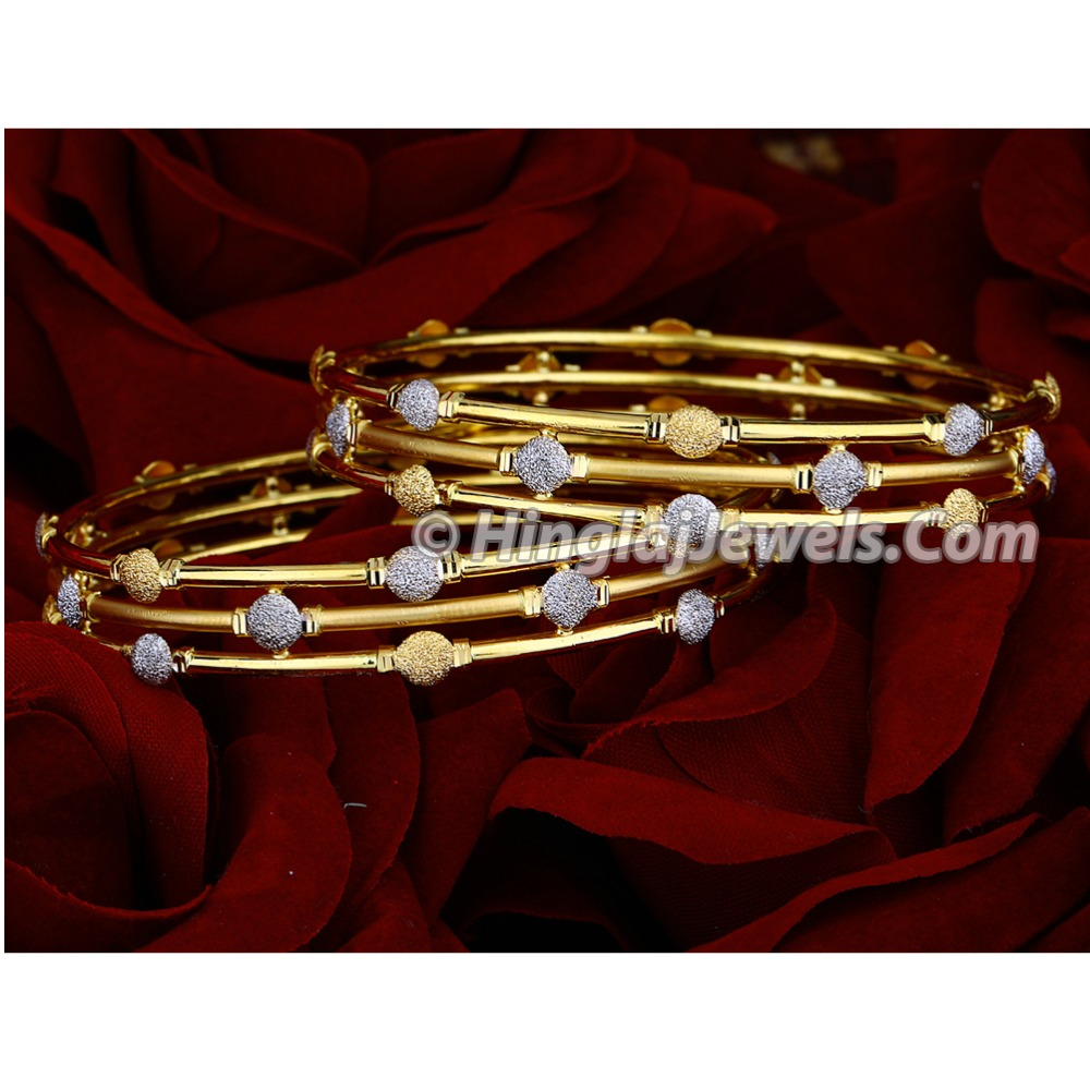 916 Gold Triplet Ball Pipe Copper Kadali Bangle HJ-5848