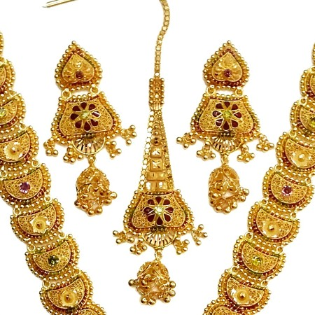 22k gold kalkutti long necklace set mga - gn0053
