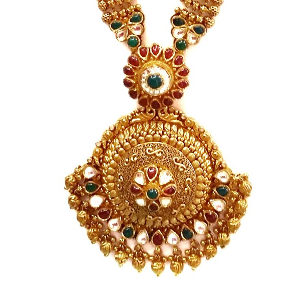 22k Gold Long Rajwadi Necklace With Jummar Buti MGA - GLS077