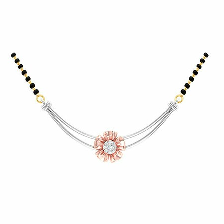 18K White Gold Rose Gold Real Diamond Mangalsutra MGA - RMS006