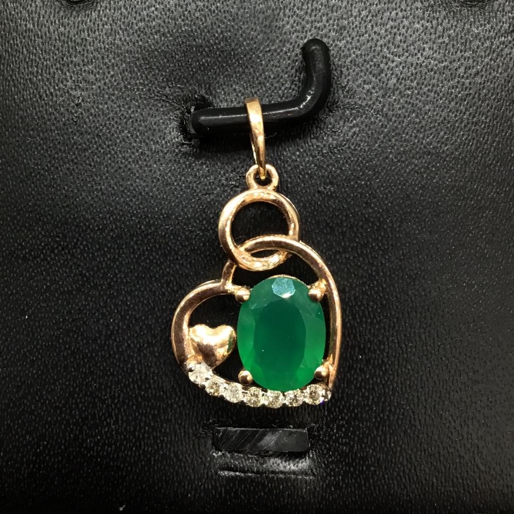 Real diamond fancy heart Stone pendant set