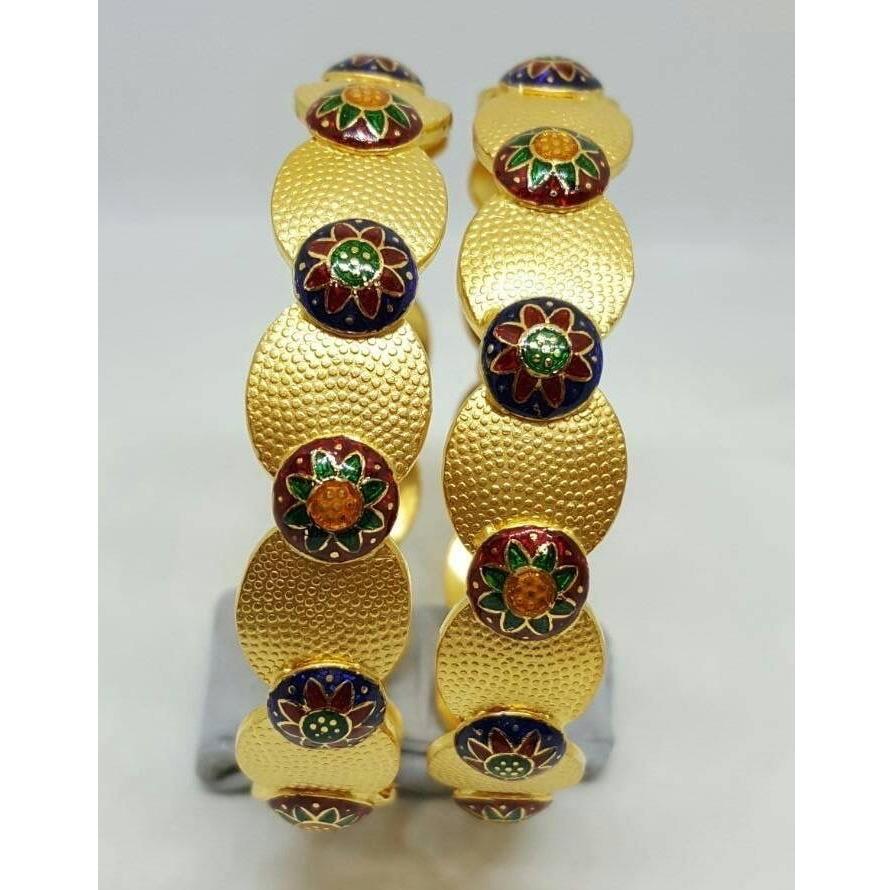 916 Gold Round Design Meenakari Bangle RH-B007