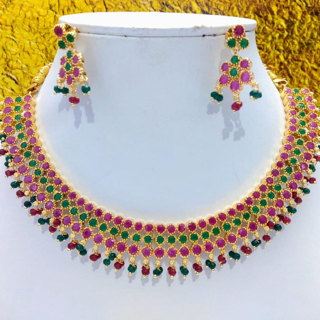 Red And Green cz stones necklace set jmk0006
