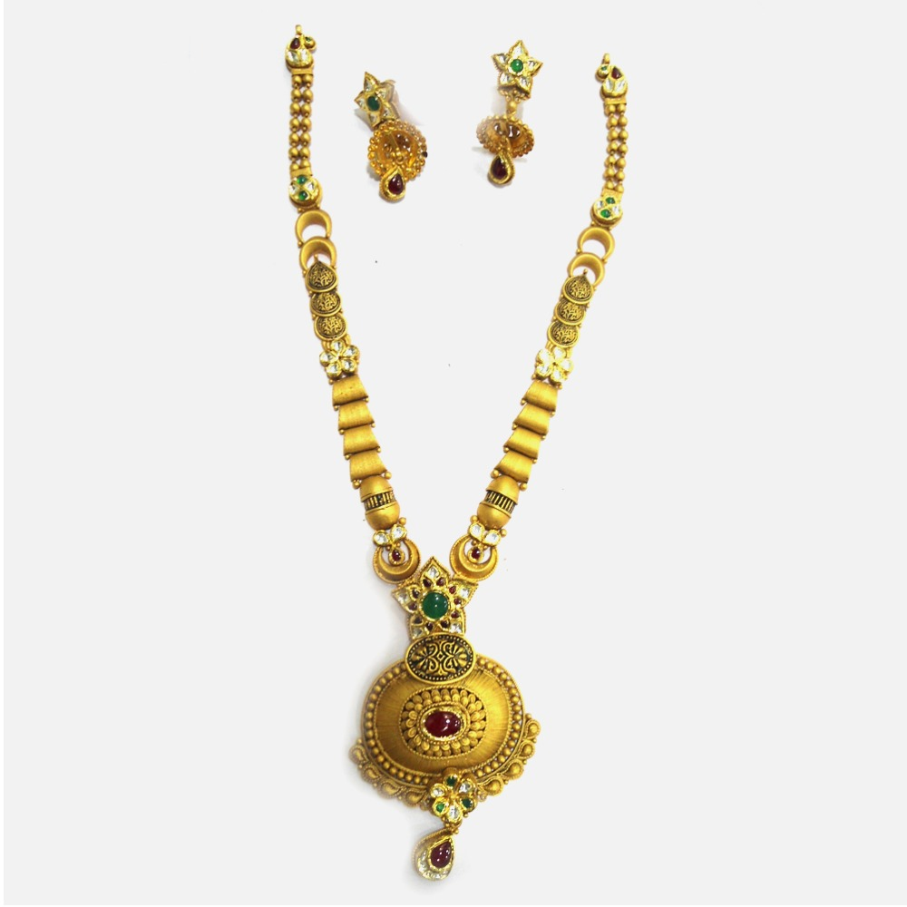 916 Gold Antique Wedding Long Necklace Set RHJ-4988
