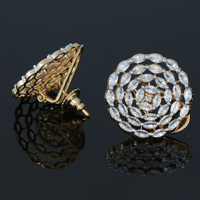 gold plated stud marquise earring